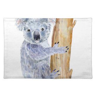 Watercolor koala illustration placemat