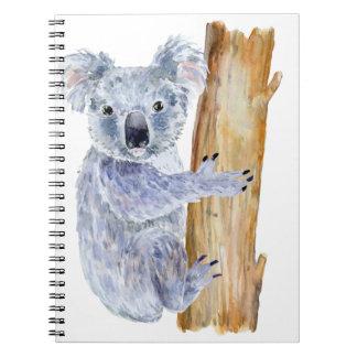 Watercolor koala illustration spiral notebook