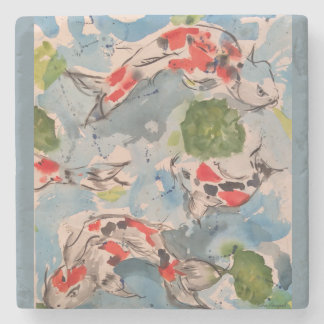 Watercolor Koi Fish Pond Stone Coaster
