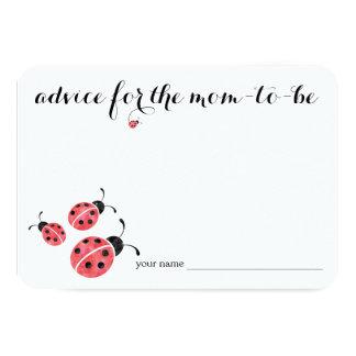 Watercolor Ladybug Advice for Mom Baby Shower Card 9 Cm X 13 Cm Invitation Card