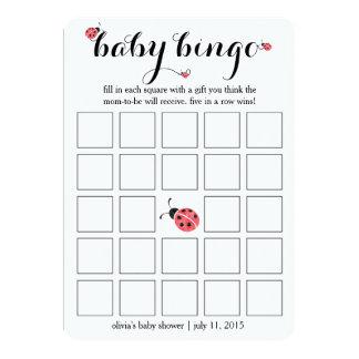 Watercolor Ladybug Baby Shower Bingo Card Game 13 Cm X 18 Cm Invitation Card