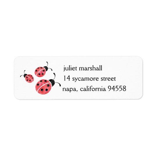 Watercolor Ladybug Return Address Labels