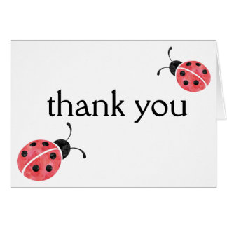 Watercolor Ladybug Thank You Cards