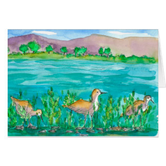 Watercolor Lake Shore Birds Happy Birthday Card