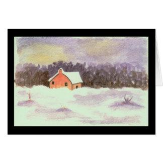 Watercolor Landscape Art Little House Winter Snow Card