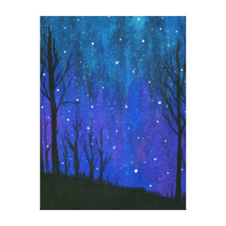Watercolor Landscape Art Night Sky Stars Universe Canvas Print