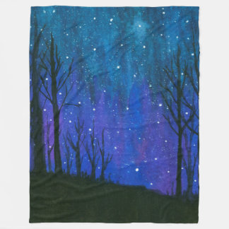 Watercolor Landscape Art Night Sky Stars Universe Fleece Blanket