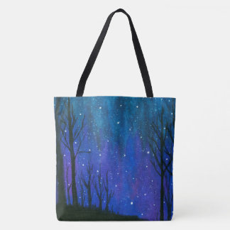 Watercolor Landscape Art Night Sky Stars Universe Tote Bag