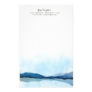 watercolor landscape personal stationary personalized stationery