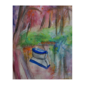 Watercolor landscape with boat Acrylic Wall Art