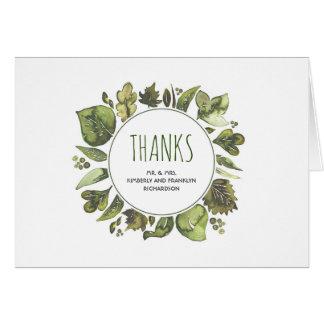 Watercolor Laurel Greenery Wedding Thank You Card