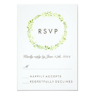 Watercolor Laurel RSVP 9 Cm X 13 Cm Invitation Card
