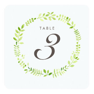 Watercolor Laurel Table Number Square card