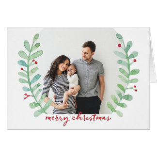 Watercolor Laurel Wreath Merry Christmas Photo Greeting Card