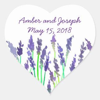 Watercolor Lavender Flowers Wedding Date Heart Sticker