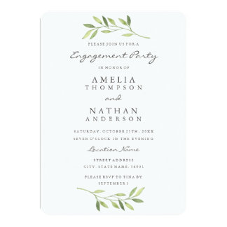 Watercolor Leaf Engagement Party Invitation