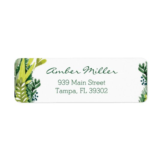Watercolor Leaf Floral Return Address Label