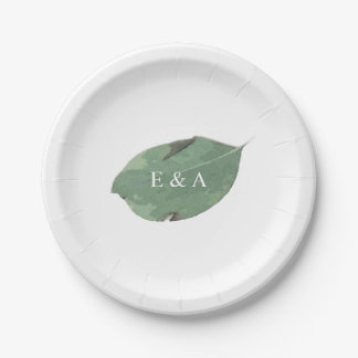Watercolor leaf paper plate