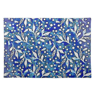 Watercolor Leaf Pattern Blue Placemat
