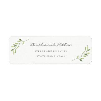 Watercolor Leaf Return Address Label