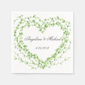 Watercolor leaf Wreath Wedding Disposable Serviette