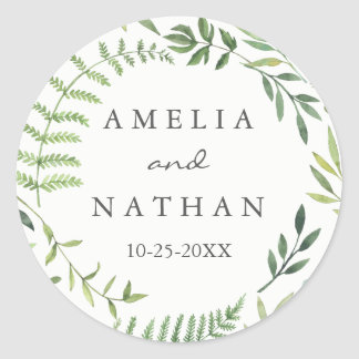 Watercolor Leaf Wreath Wedding Sticker