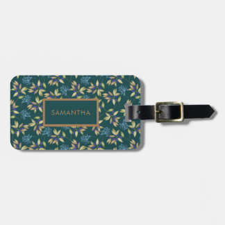 Watercolor Leaves and Blossoms Pattern on Teal Luggage Tag