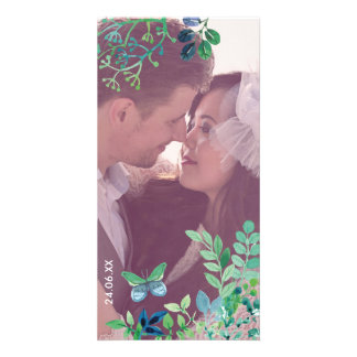 Watercolor Leaves and Butterflies Jungle Customized Photo Card