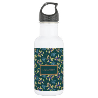 Watercolor Leaves and Flowers Pattern on Teal 532 Ml Water Bottle