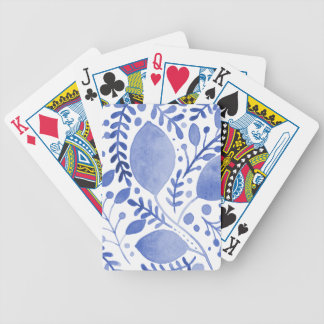 Watercolor leaves - blue bicycle playing cards