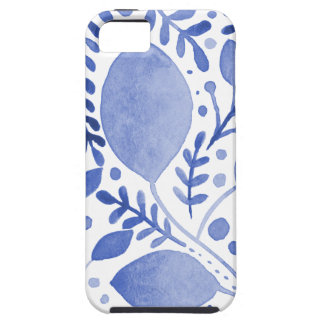 Watercolor leaves - blue case for the iPhone 5