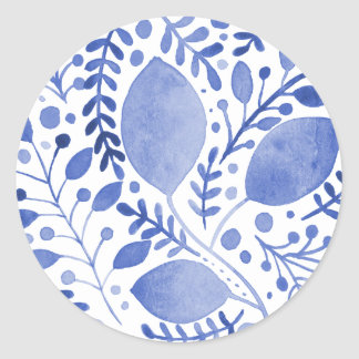 Watercolor leaves - blue classic round sticker