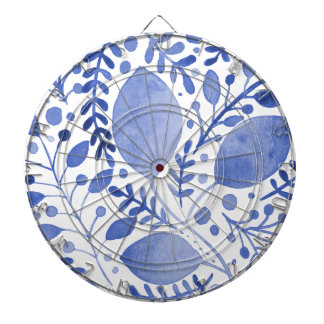 Watercolor leaves - blue dartboard