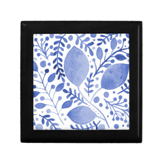 Watercolor leaves - blue gift box