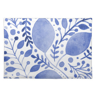 Watercolor leaves - blue placemat