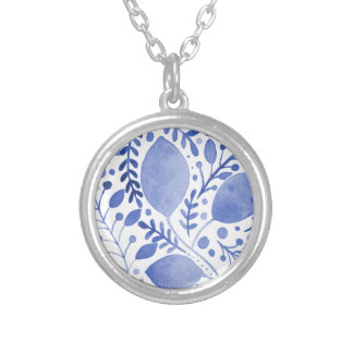 Watercolor leaves - blue silver plated necklace