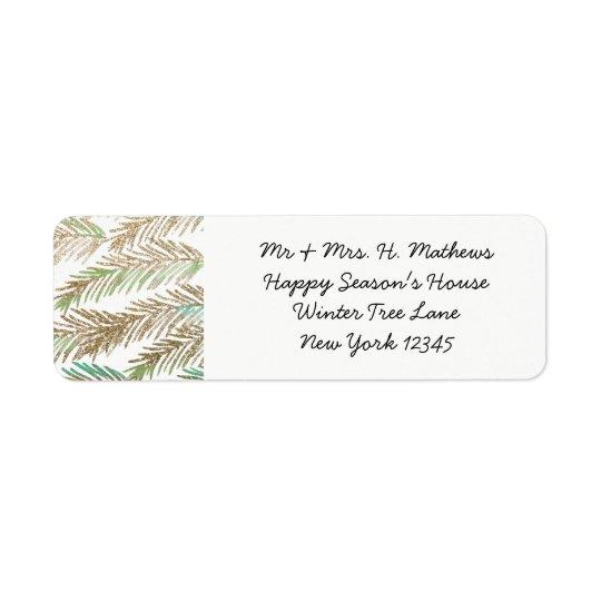 Watercolor Leaves Christmas Return Address Label