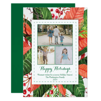 Watercolor Leaves Christmas three (3) photo card
