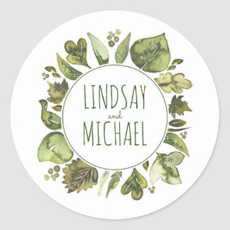 Watercolor Leaves Laurel - Greenery Wreath Wedding Classic Round Sticker