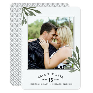 Watercolor Leaves Save The Date 2 Photos Card