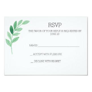 watercolor leaves simple RSVP card