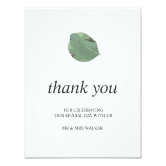 Watercolor leaves wedding thank you - flat card