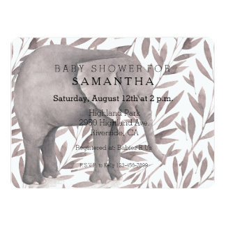 Watercolor Leaves with Elephant Baby Shower 17 Cm X 22 Cm Invitation Card
