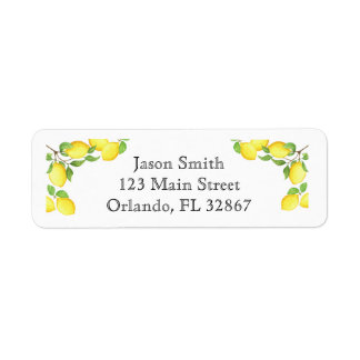 Watercolor Lemon Custom Return Address Label