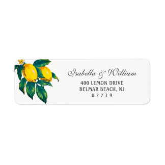 Watercolor Lemon Summer Wedding Address Return Address Label