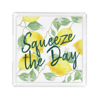 Watercolor Lemons Squeeze the Day Acrylic Tray
