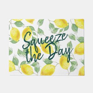 Watercolor Lemons Squeeze the Day Doormat