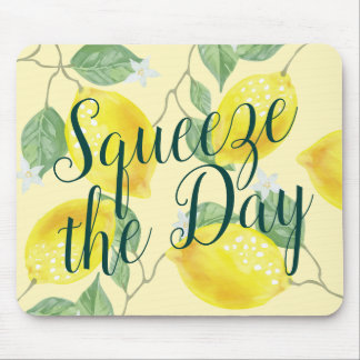 Watercolor Lemons Squeeze the Day Mouse Pad
