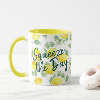 Watercolor Lemons Squeeze the Day Mug