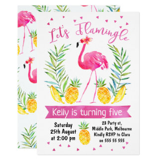 Watercolor Let's flamingle Birthday Invitation